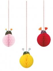 3 Suspensions en papier petite coccinelle rose, rouge, jaune 10 cm