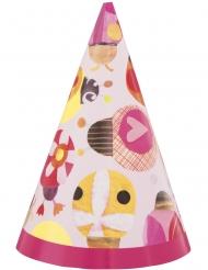 8 Chapeaux de fête en carton petite coccinelle rose
