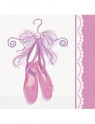 16 Petites serviettes en papier ballerine roses 25 x 25 cm