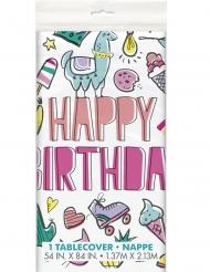 Nappe en plastique happy birthday pop 137 x 213 cm