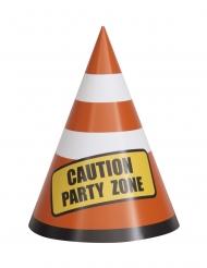 8 Chapeaux de fêtes en carton chantier