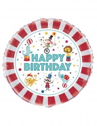 Ballon aluminium happy birthday cirque 45 cm