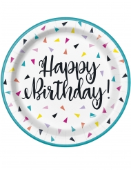 8 Petites assiettes en carton happy birthday confettis 18 cm