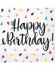 16 Serviettes en papier happy birthday confettis 33 x 33 cm