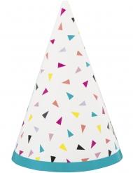 8 Chapeaux de fête en carton confettis