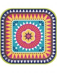 8 Assiettes carrées en carton boho fiesta 23 cm