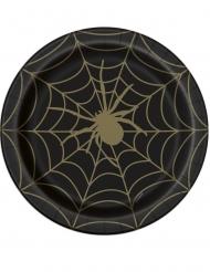 8 Assiettes en carton toile d'araignée noir et or 23 cm