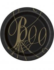 8 Petites assiettes en carton toile d'araignée noir et or 18 cm
