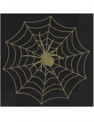 16 Serviettes en papier toile d'araignée noir et or 33 x 33 cm