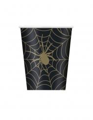 8 Gobelets en carton toile d'araignée noir et or 266 ml
