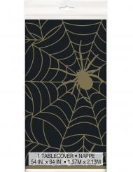 Nappe en plastique toile d'araignée noir et or 137 x 213 cm