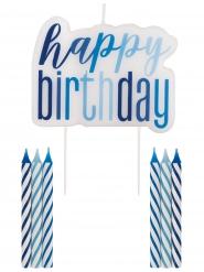 Bougies anniversaire happy birthday bleues