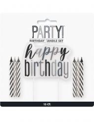 Bougies anniversaire happy birthday noires