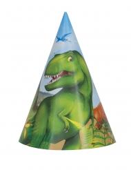 8 Chapeaux de fêtes en carton dinosaures