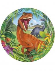 8 Assiettes en carton dinosaures 23 cm