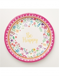 8 Petites assiettes en carton happy and folk 18 cm