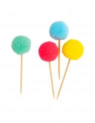 10 Pics apéritifs pompons multicolores 10 cm