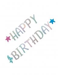 Guirlande en carton sirène happy birthday holographique 2,6 m