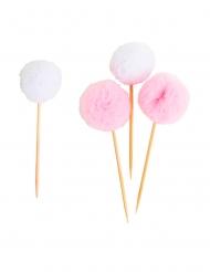 8 Piques en tulle pompons roses et blancs 3 cm