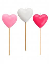 3 Bougies forme cœur rose et blanche 20 cm