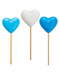 3 Bougies forme cœur bleue et blanche 20 cm