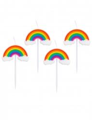 4 Bougies sur piques arc-en-ciel 8 cm