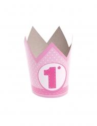 6 Chapeaux de fête en papier 1 an roses