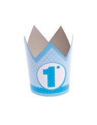 6 Chapeaux de fête en papier 1 an bleus