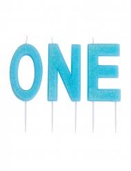 Bougies sur pique ONE bleues pailletées 9,5 cm