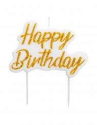 Bougie happy birthday blanche et dorée pailletée 8 x 6 cm