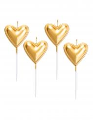 5 Bougies sur pique coeurs dorées métallisées 8 cm
