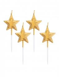 5 Bougies sur pique étoiles dorées métallisées 8 cm