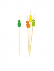 25 Piques en bambou ananas multicolores 12 cm