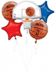 Bouquet 5 ballons aluminium NBA Spalding™