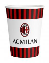 8 Gobelets en carton AC Milan™ 266 ml
