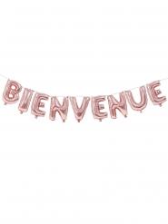 Guirlande ballons aluminium lettres Bienvenue rose 36 cm