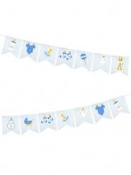 Guirlande 14 fanions en papier baby shower bleue 5 m