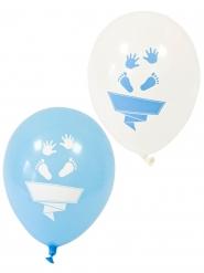 8 Ballons en latex pieds et mains blancs et bleus 30 cm
