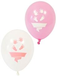 8 Ballons en latex pieds et mains blancs et roses 30 cm