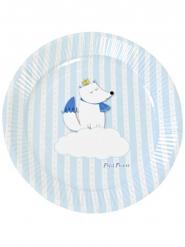 6 Petites assiettes en carton renard blanches et bleues 18 cm