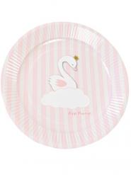 6 Petites assiettes en carton cygne blanches et roses 18 cm