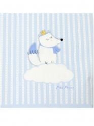 20 Serviettes en papier renard blanches et bleues 33 x 33 cm