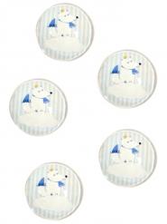 10 Pastilles décoratives en verre renard bleues 2,5 cm