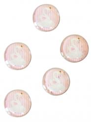 10 Pastilles en verre cygne rose 2,5 cm