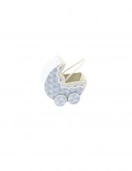 Contenant landau en tissu bleu 7 x 4 x 6,5 cm