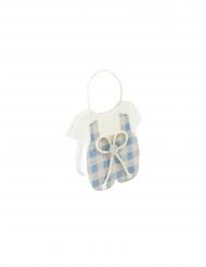 Sachet vêtement bébé en tissu bleu 11 x 8 x 3,5 cm