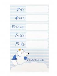 6 Cartes de prédictions baby shower bleues 7 x 12,5 cm