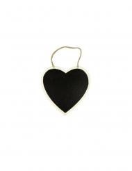 Suspension cœur ardoise et bois 16 cm