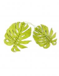 2 Feuilles tropicales en bois vertes 11 cm