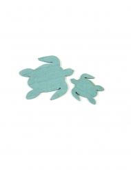 10 Confettis en bois tortues de mer bleues 5,5 et 3 cm